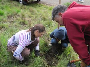 Planting native shrubs in Hanns Park.